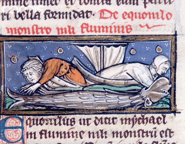 Medieval Manuscript Illumination of a Sea Monster Found in a River by Sailors From Albertus Magnus' De Natura Rerum